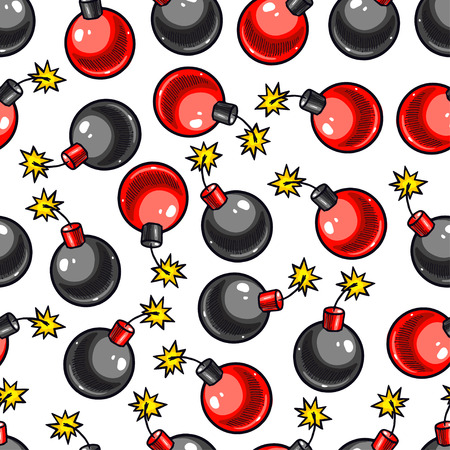cute seamless pattern of red and black bombs. hand-drawn illustration