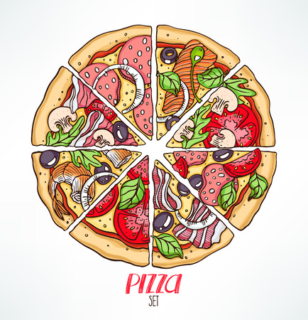 stuffing: circle of pizza slices with various stuffing. hand-drawn illustration Illustration