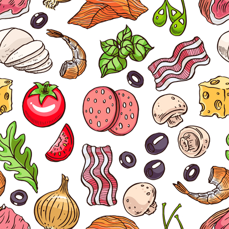 greens: seamless pizza ingredients. bacon, greens, cheese, tomatoes. hand-drawn illustration Illustration