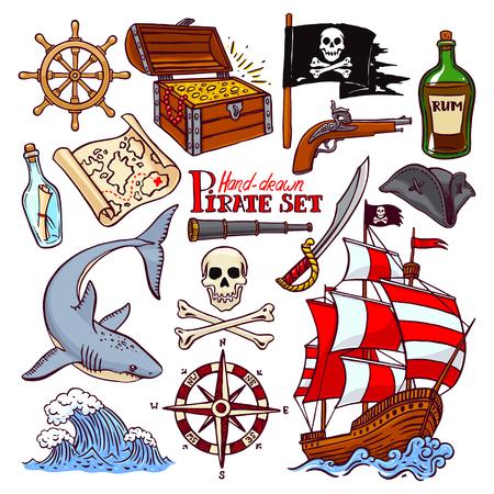 cocked hat: pirate set. collection of hand-drawn pirate paraphernalia. pirate flag, ship, navigation attributes