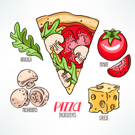 pizza ingredients: pizza ingredients. piece of pizza with tomatoes. hand-drawn illustration