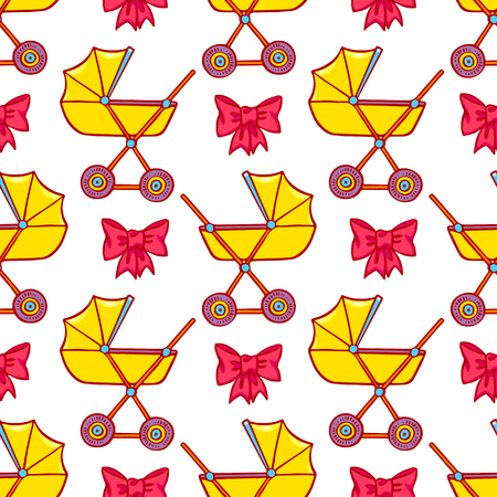 prams: cute seamless background of yellow prams and pink bows. hand-drawn illustration Illustration