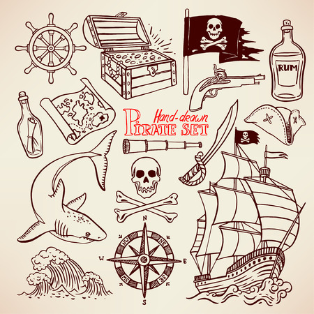 cocked hat: sketch pirate set. collection of hand-drawn pirate paraphernalia. pirate flag, ship, navigation attributes