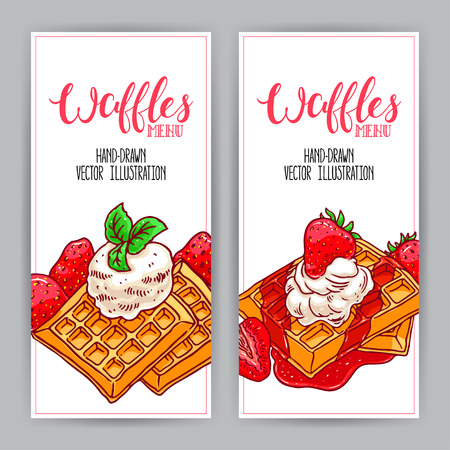 two cute vertical banner of waffles and strawberries. hand-drawn illustration