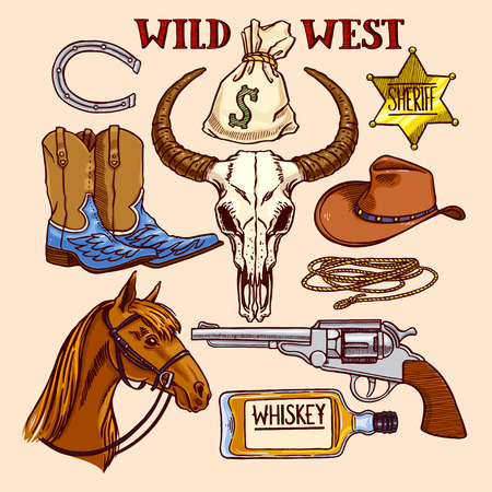 Set of cute coloful cowboy accessories. hand-drawn illustration Illustration