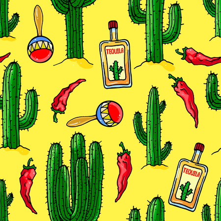 seamless mexican colorful  background of cactuses, bottles of tequila and maracas. hand-drawn illustration