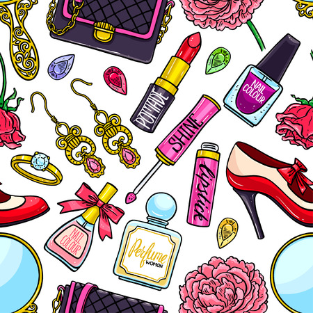 beautiful seamless background of female things - flowers, lipstick and nail polish. hand-drawn illustration