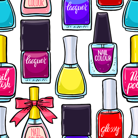 fingernail: beautiful seamless background of colored lacquers for nails. hand-drawn illustration