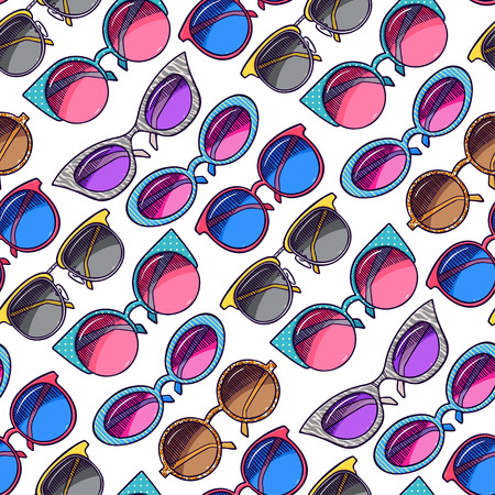 seamless background of cute colorful vintage sunglasses. hand-drawn illustration