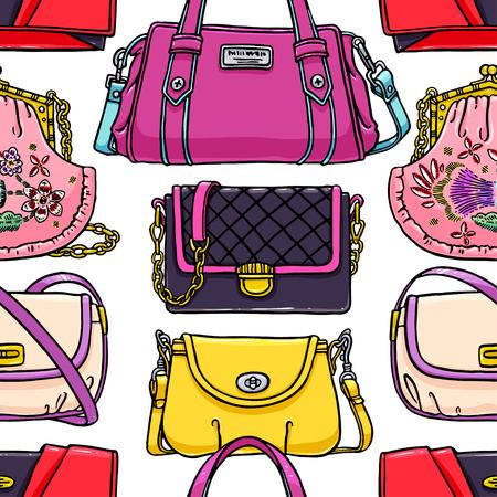 handbags: seamless background of beautiful multi-colored handbags. hand-drawn illustration Illustration