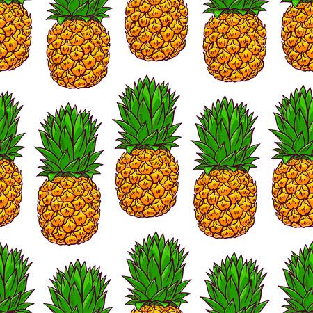 seamless background of pineapples. hand-drawn illustration Illustration