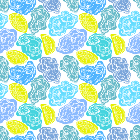 delicacy: seamless sketch blue oysters