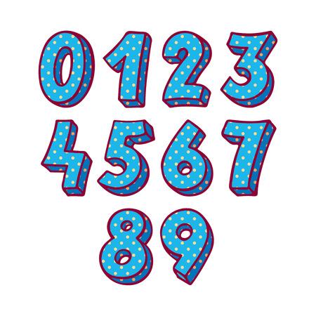 numbers: set of blue numbers