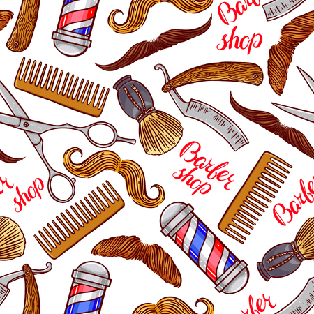 hairdressing accessories: barber shop. seamless background of hairdressing accessories and different mustache. hand-drawn illustration