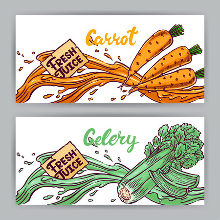 carrot juice: two beautiful banners. Fresh Juice. carrot and celery. hand-drawn illustration