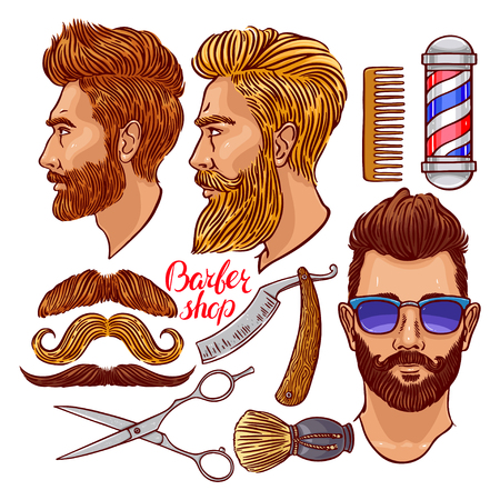set of men hair styling: barber shop. set of colorful hairdressing accessories and bearded men. hand-drawn illustration