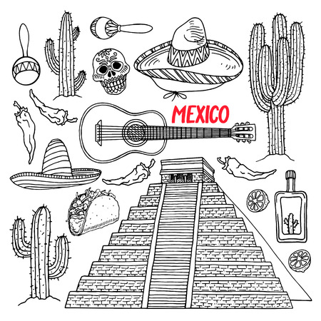 chichen itza: cute set of a different sketch traditional Mexican items. Chichen Itza. hand-drawn illustration