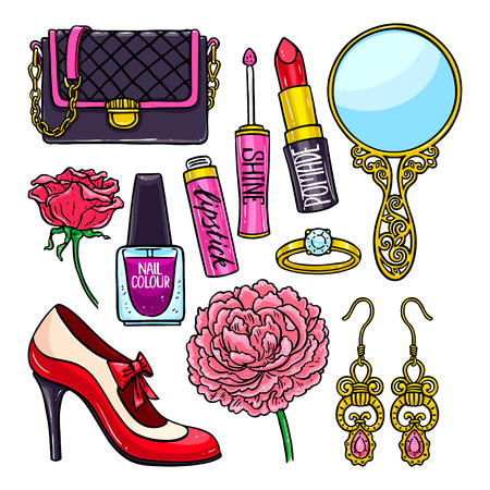 beautiful set of female things - flowers, lipstick and nail polish. hand-drawn illustration