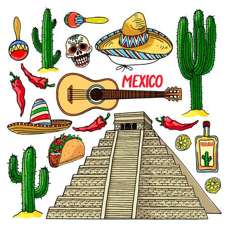 Sistema lindo del diversos artículos tradicionales de México. Chichén Itzá. dibujado a mano ilustración Foto de archivo - 63113220