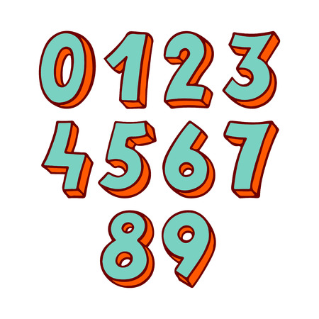 set of green and orange numbers