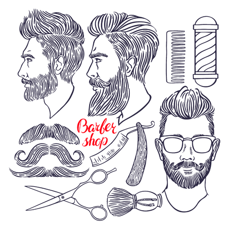 set of men hair styling: barber shop. set of sketch hairdressing accessories and bearded men. hand-drawn illustration
