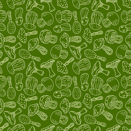 kinds: cute seamless green background of various kinds of sketch mushrooms. hand-drawn illustration