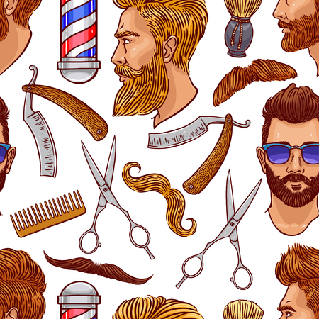 barber shop seamless background of hairdressing accessories and bearded men Vettoriali