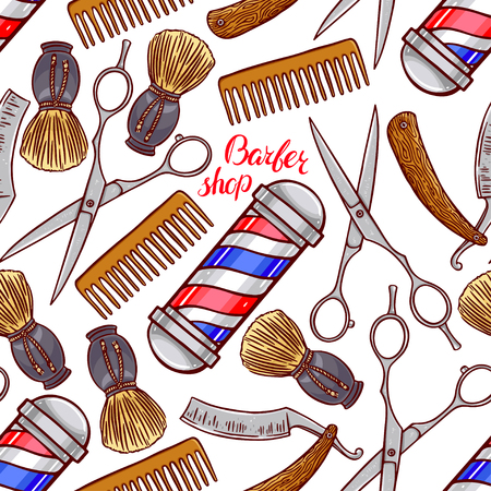hairdressing accessories: barber shop. seamless background of hairdressing accessories. hand-drawn illustration