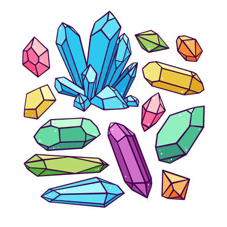 beautiful set of a variety of crystals and gemstones. hand-drawn illustration Illustration