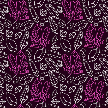 beautiful seamless dark pattern of a variety sketch crystals and gemstones. hand-drawn illustration