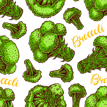 beautiful seamless background of a different colorful broccoli. hand-drawn illustration