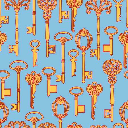 antiquarian: Beautiful seamless background of orange vintage keys on a blue background. hand-drawn illustration Illustration