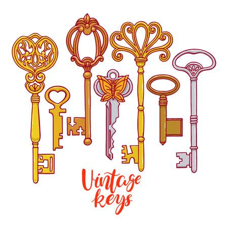 antiquarian: Beautiful set of different vintage keys. hand-drawn illustration