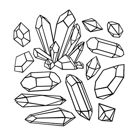 carat: beautiful set of a variety of sketch crystals and gemstones. hand-drawn illustration
