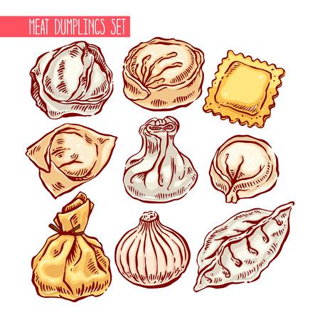 tortellini: appetizing set of a different dumplings. hand-drawn illustration