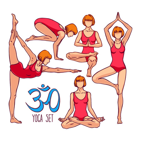 womens yoga. a collection of poses in yoga. hand-drawn illustration