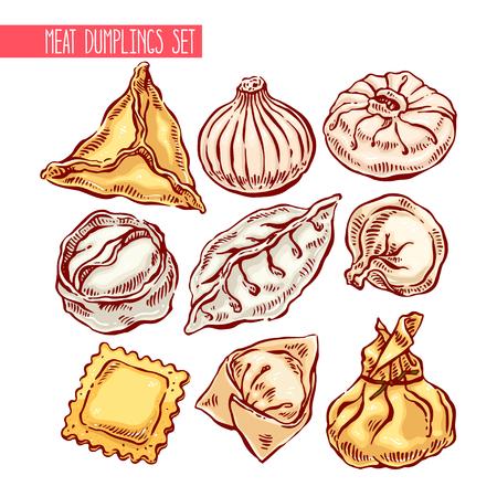 appetizing set of different dumplings. hand-drawn illustration