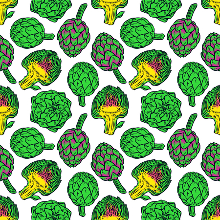 beautiful seamless pattern of bright color artichokes on a white background. hand-drawn illustration