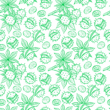 beautiful seamless pattern of green sketch chestnuts. hand-drawn illustration Illustration