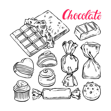 mixed nuts: beautiful set of different sketch chocolate candies. hand-drawn illustration Illustration