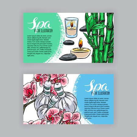 two beautiful banners of spa accessories. hand-drawn illustration