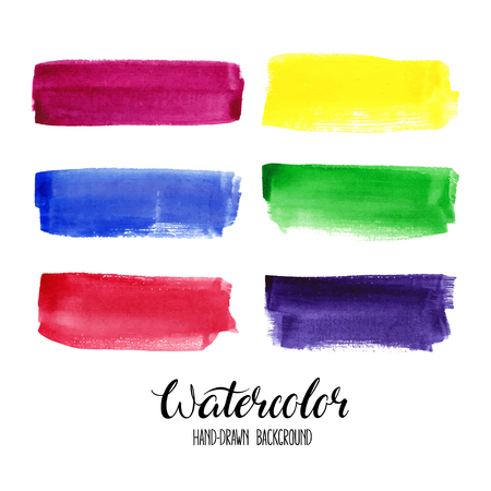 set of six colorful watercolor stroke backgrounds  イラスト・ベクター素材