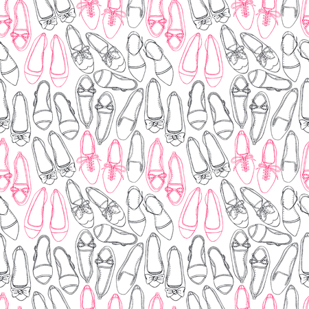 Seamless pattern of different pink and black shoes on a white background