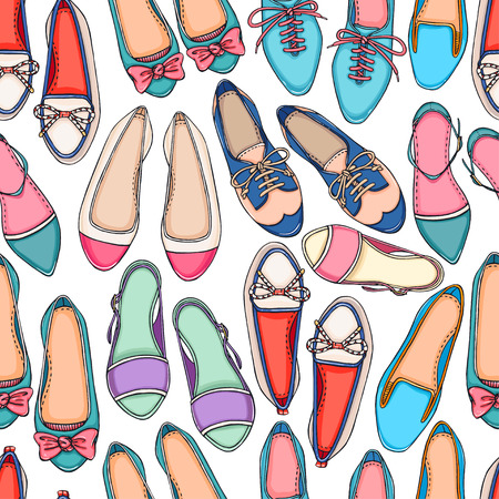 Seamless pattern of different colorful shoes on a white background