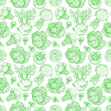 kale: cute seamless background of various kinds of sketch cabbage. white cabbage, scotch kale, kohlrabi, broccoli. hand-drawn illustration Illustration