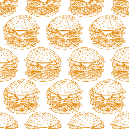 cute seamless background of appetizing hamburgers. hand-drawn illustration Illustration