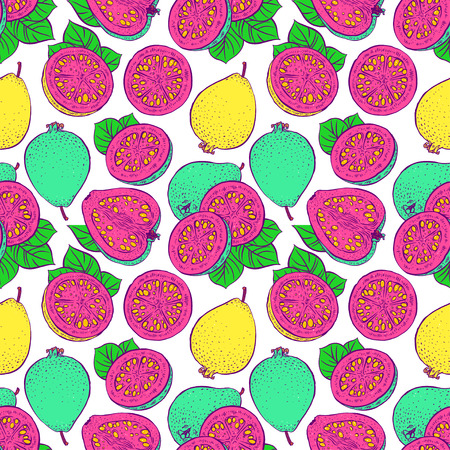 beautiful seamless pattern of delicious bright color ripe guava. hand-drawn illustration