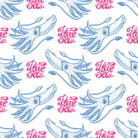 i love the sea. beautiful seamless background of cute squids and text. hand drawn illustration