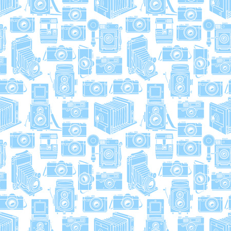 seamless background of different vintage blue cameras. hand-drawn illustration
