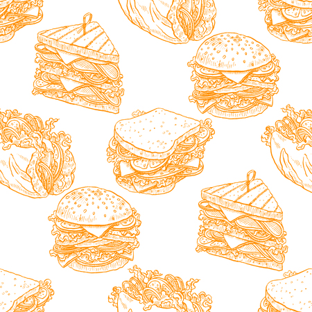 cute seamless background of tasty different sandwiches. hand-drawn illustration